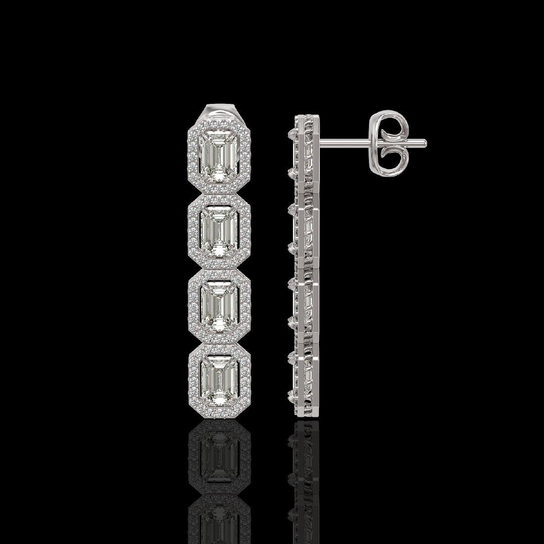 5.33 CTW Emerald Cut Diamond Designer Earrings 18K - 2