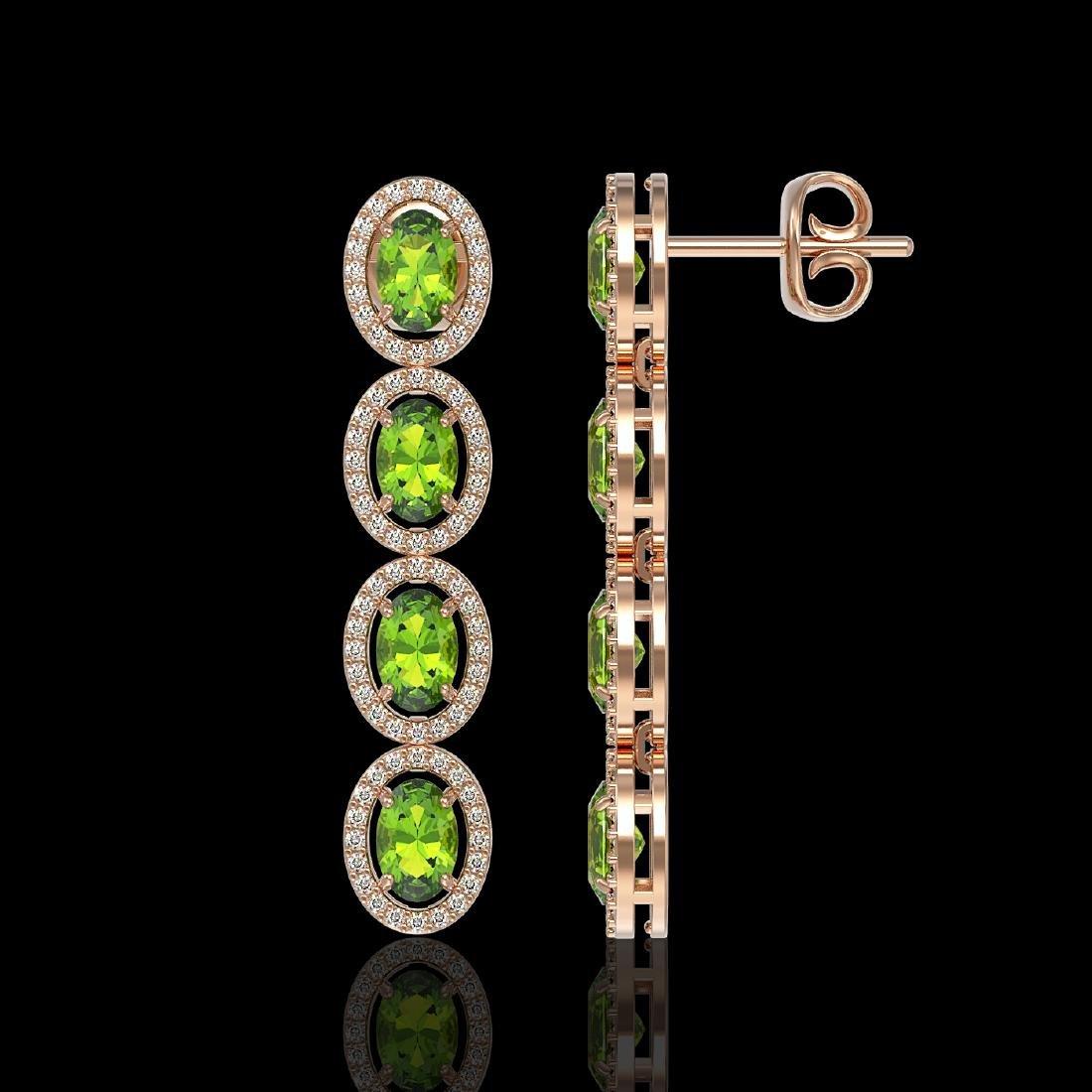 5.88 CTW Peridot & Diamond Halo Earrings 10K Rose Gold - 2