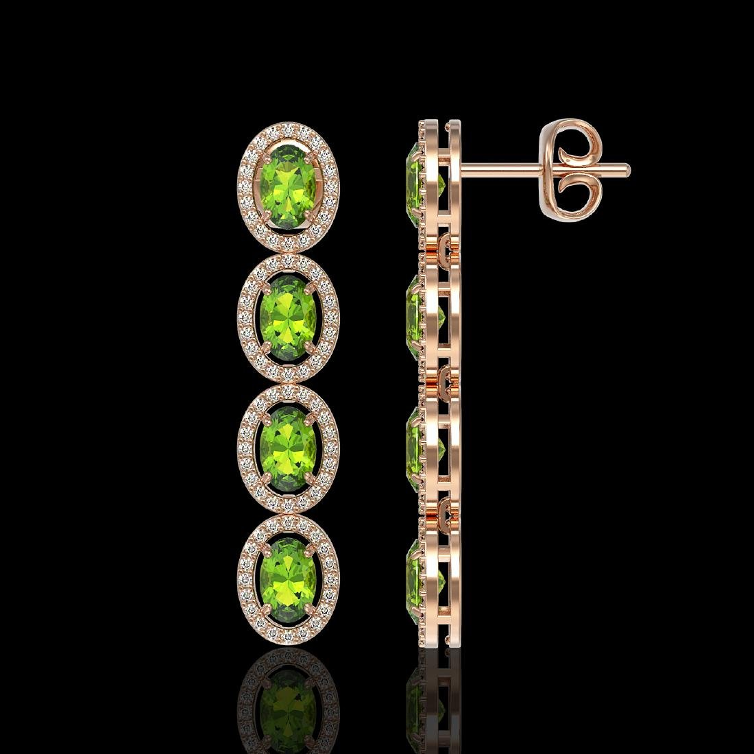 5.88 CTW Peridot & Diamond Halo Earrings 10K Rose Gold - 2