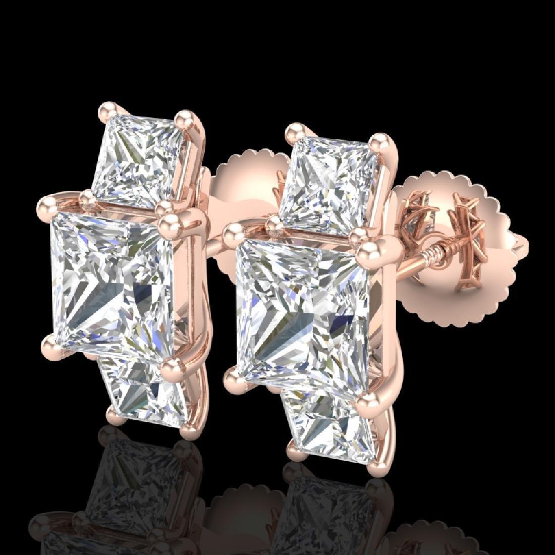 3.08 CTW Princess VS/SI Diamond Art Deco Stud Earrings
