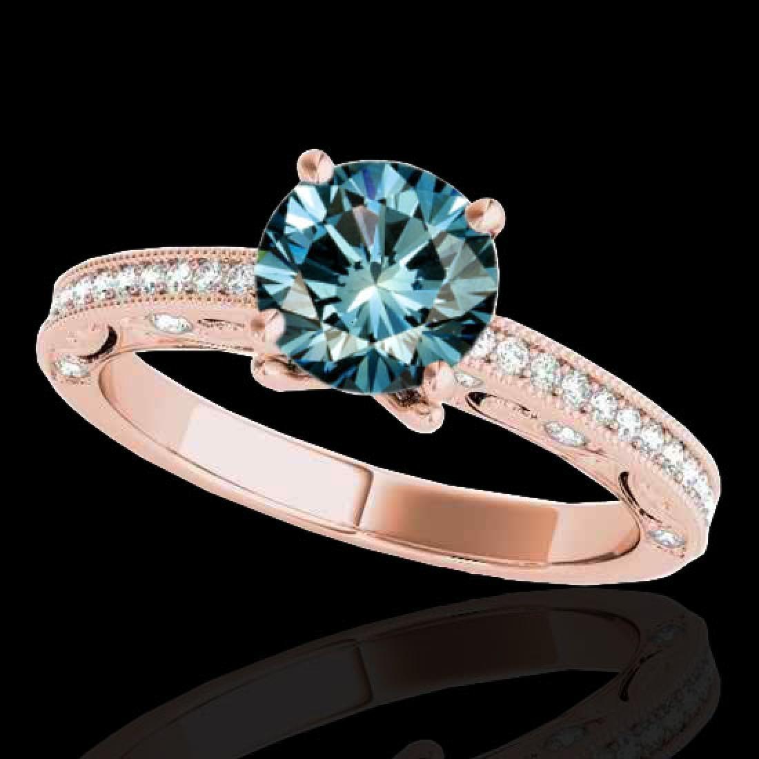 1.25 CTW SI Certified Blue Diamond Solitaire Antique