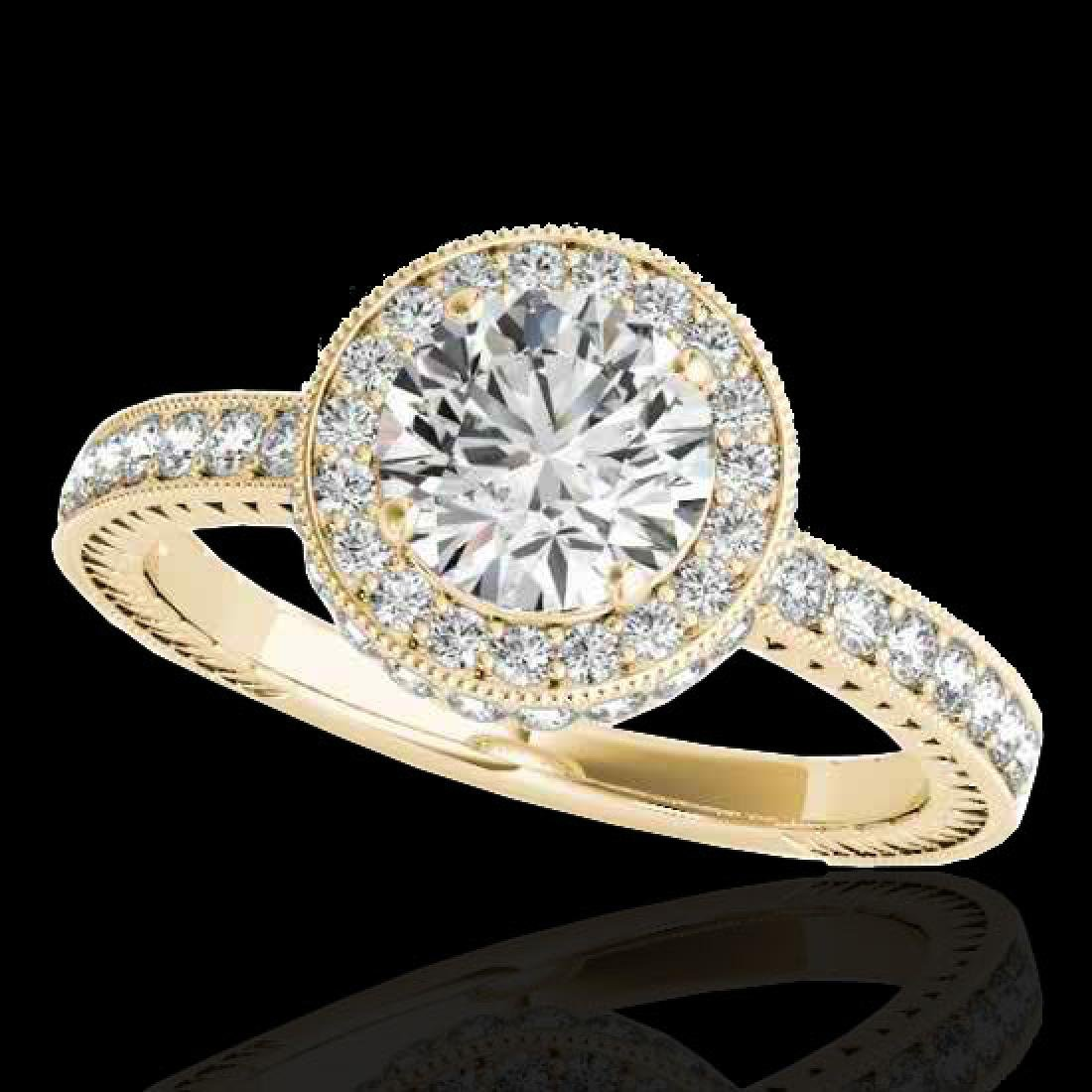 1.51 CTW H-SI/I Certified Diamond Solitaire Halo Ring