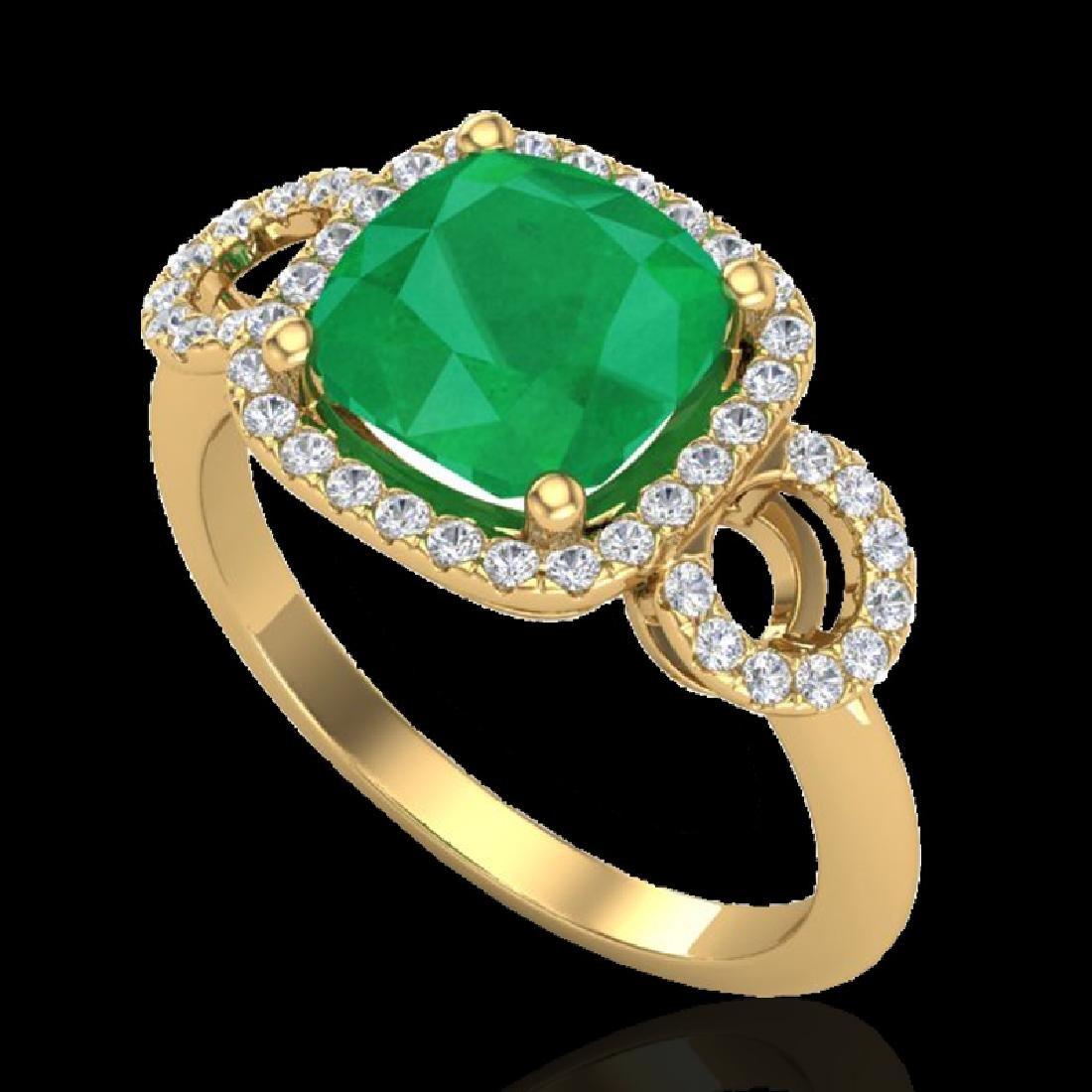 3.15 CTW Emerald & Micro VS/SI Diamond Ring 18K Yellow - 2