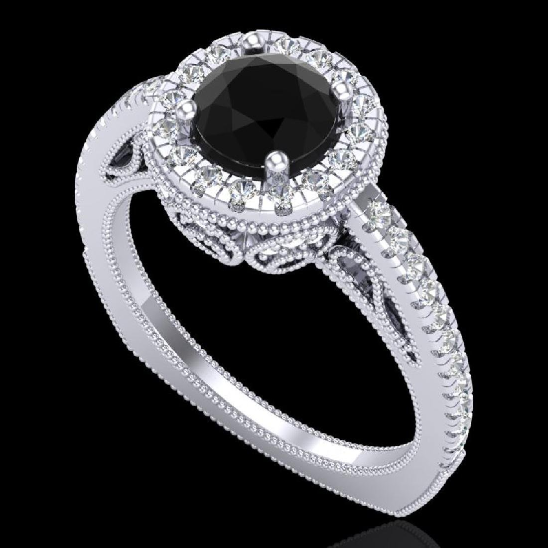 1.55 CTW Fancy Black Diamond Solitaire Engagement Art