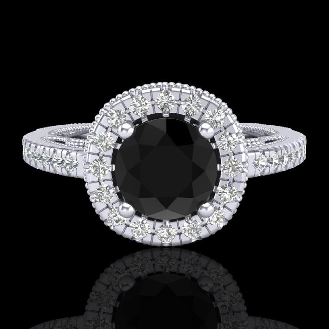 1.55 CTW Fancy Black Diamond Solitaire Engagement Art - 2