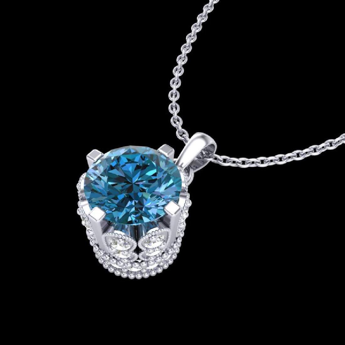 0.85 CTW Fancy Intense Blue Diamond Solitaire Art Deco - 2