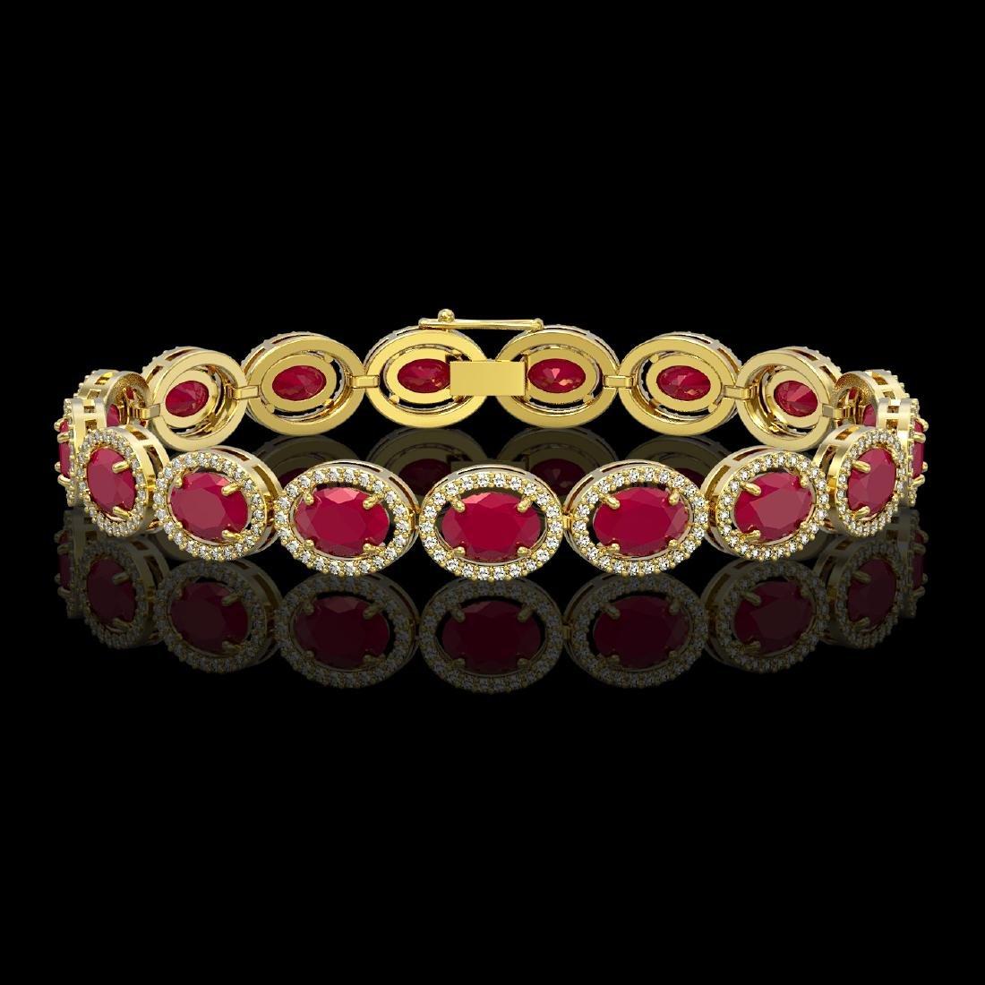 22.89 CTW Ruby & Diamond Halo Bracelet 10K Yellow Gold