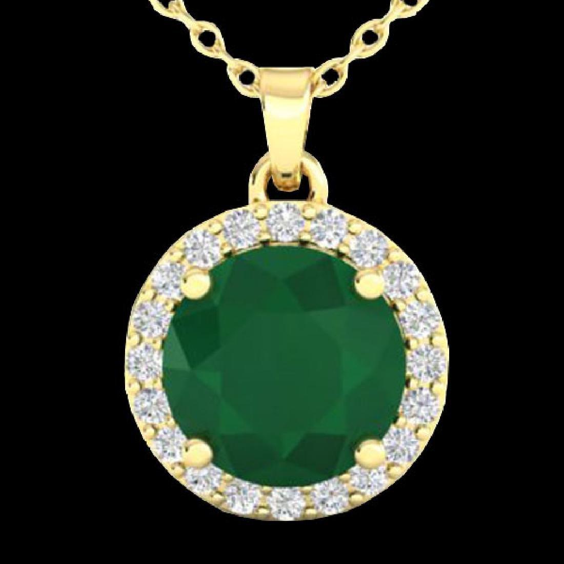 2 CTW Emerald & Halo VS/SI Diamond Micro Pave Necklace - 2