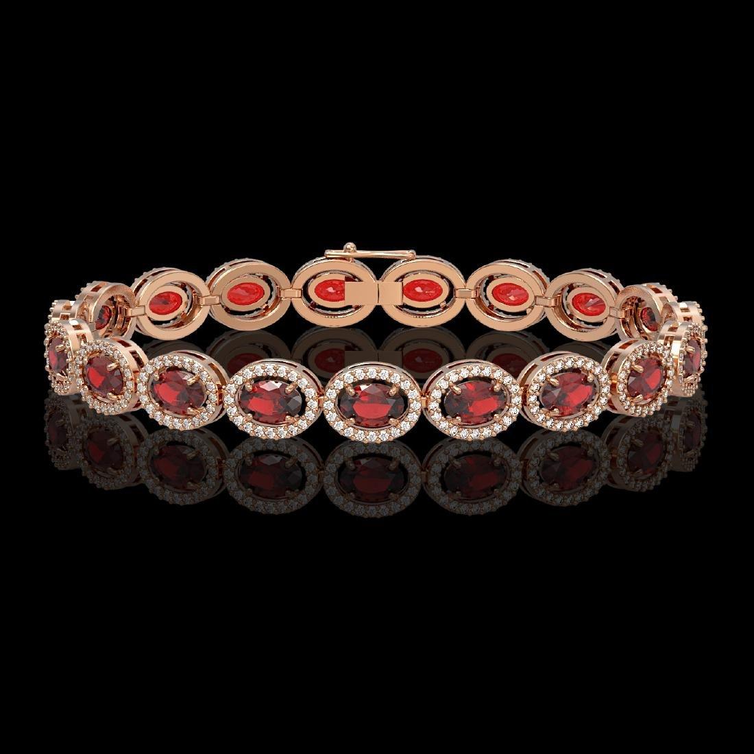 14.63 CTW Garnet & Diamond Halo Bracelet 10K Rose Gold