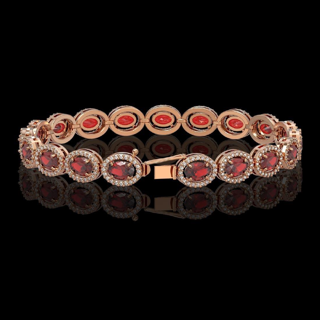 14.63 CTW Garnet & Diamond Halo Bracelet 10K Rose Gold - 2
