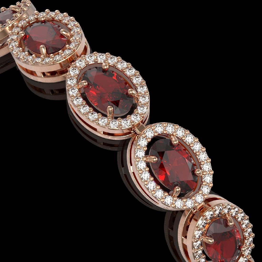 14.63 CTW Garnet & Diamond Halo Bracelet 10K Rose Gold - 3