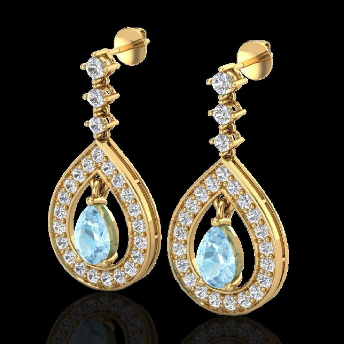 2.25 CTW Aquamarine & Micro Pave VS/SI Diamond Earrings