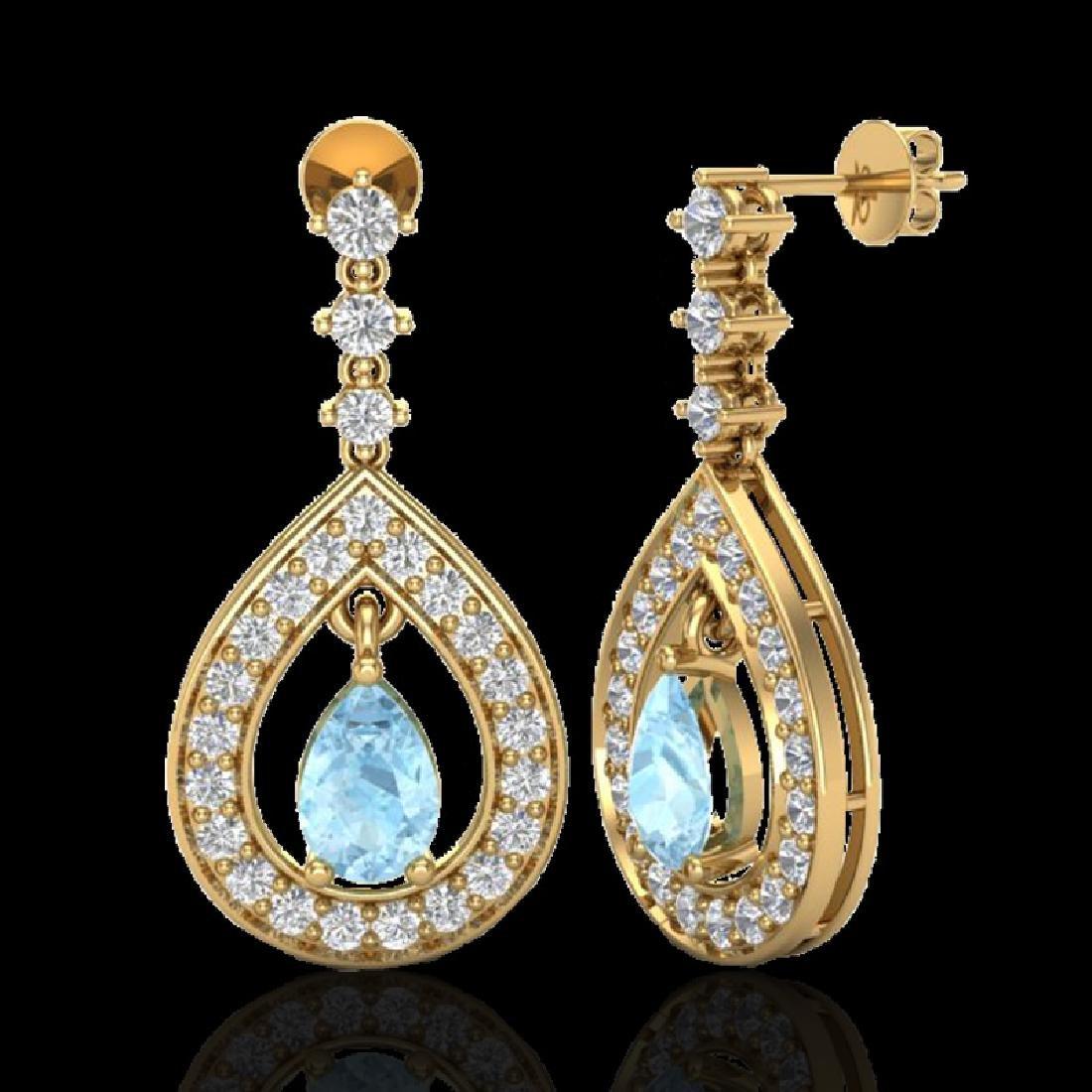 2.25 CTW Aquamarine & Micro Pave VS/SI Diamond Earrings - 2