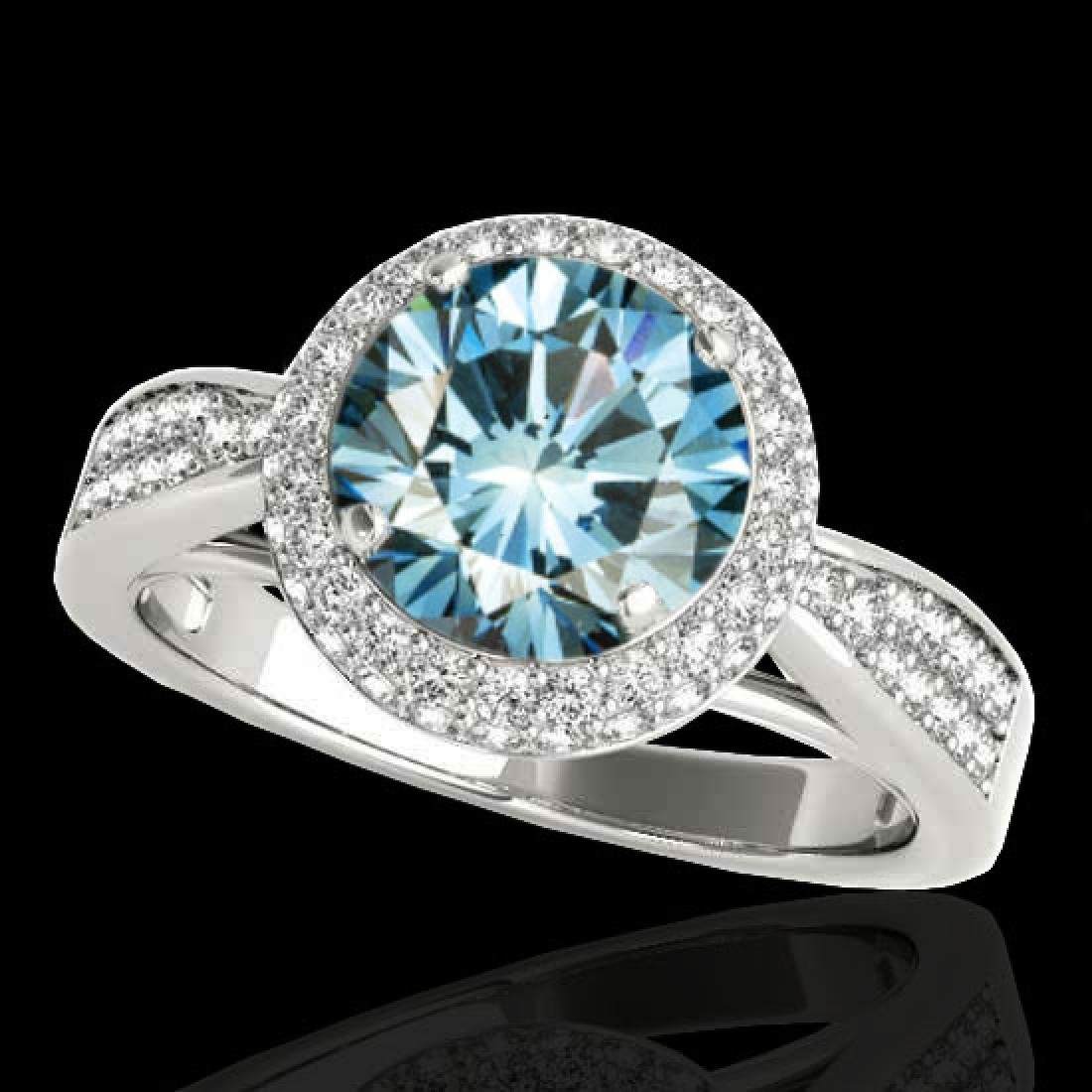 1.65 CTW SI Certified Fancy Blue Diamond Solitaire Halo