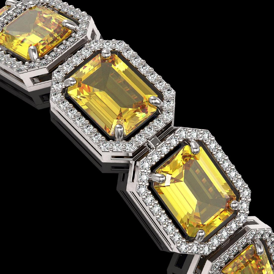 34.91 CTW Fancy Citrine & Diamond Halo Bracelet 10K - 3