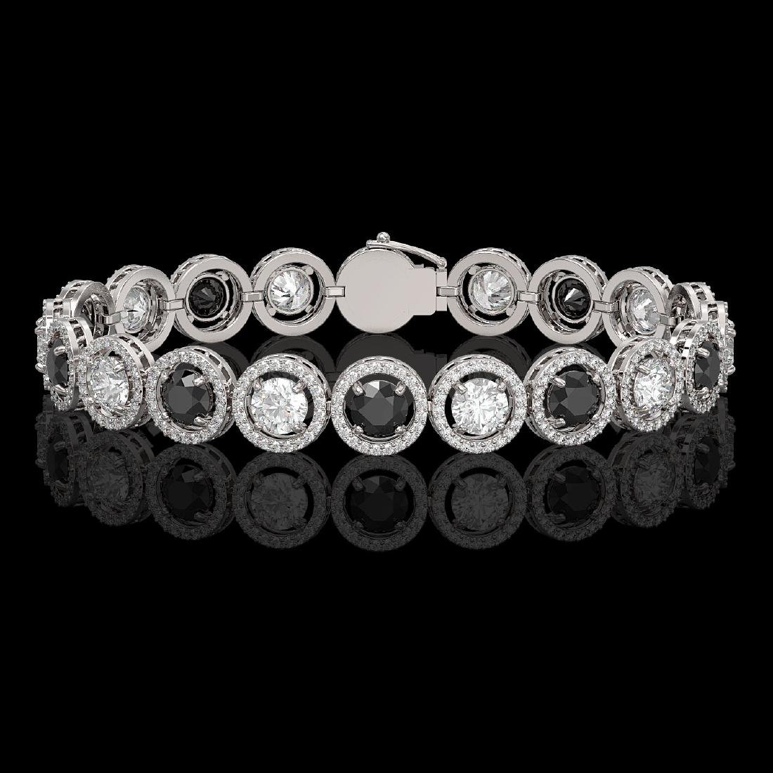 13.96 CTW Black & White Diamond Designer Bracelet 18K