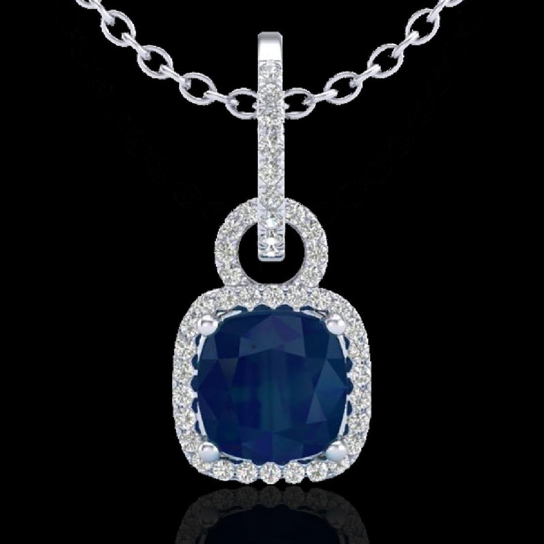3 CTW Sapphire & Micro VS/SI Diamond Necklace 18K White - 2