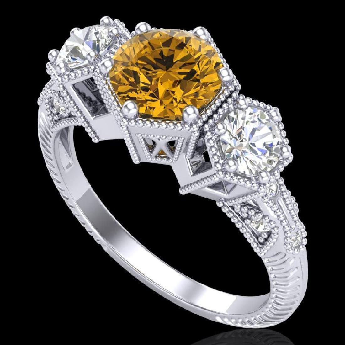 1.66 CTW Intense Fancy Yellow Diamond Art Deco 3 Stone