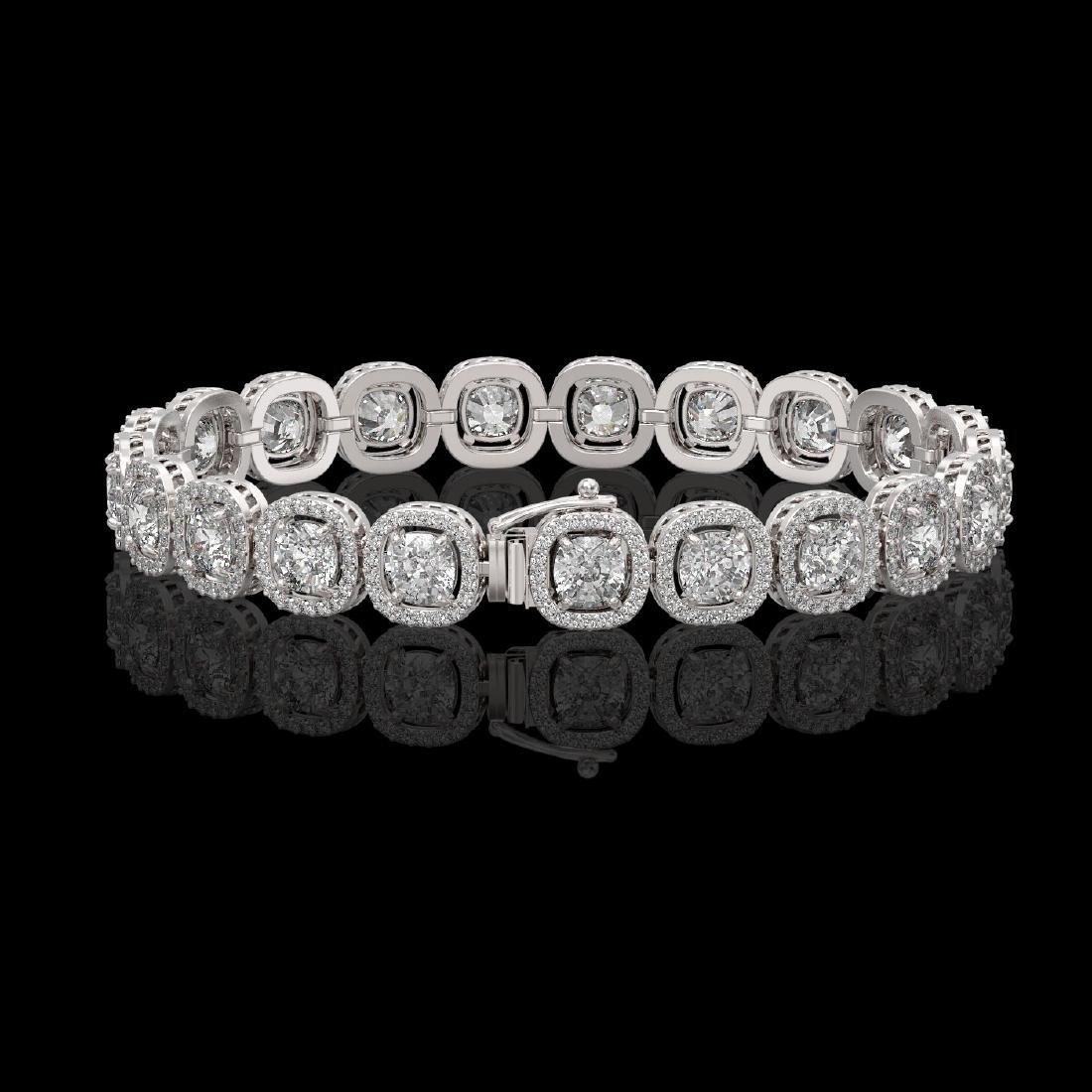14.41 CTW Cushion Diamond Designer Bracelet 18K White - 2