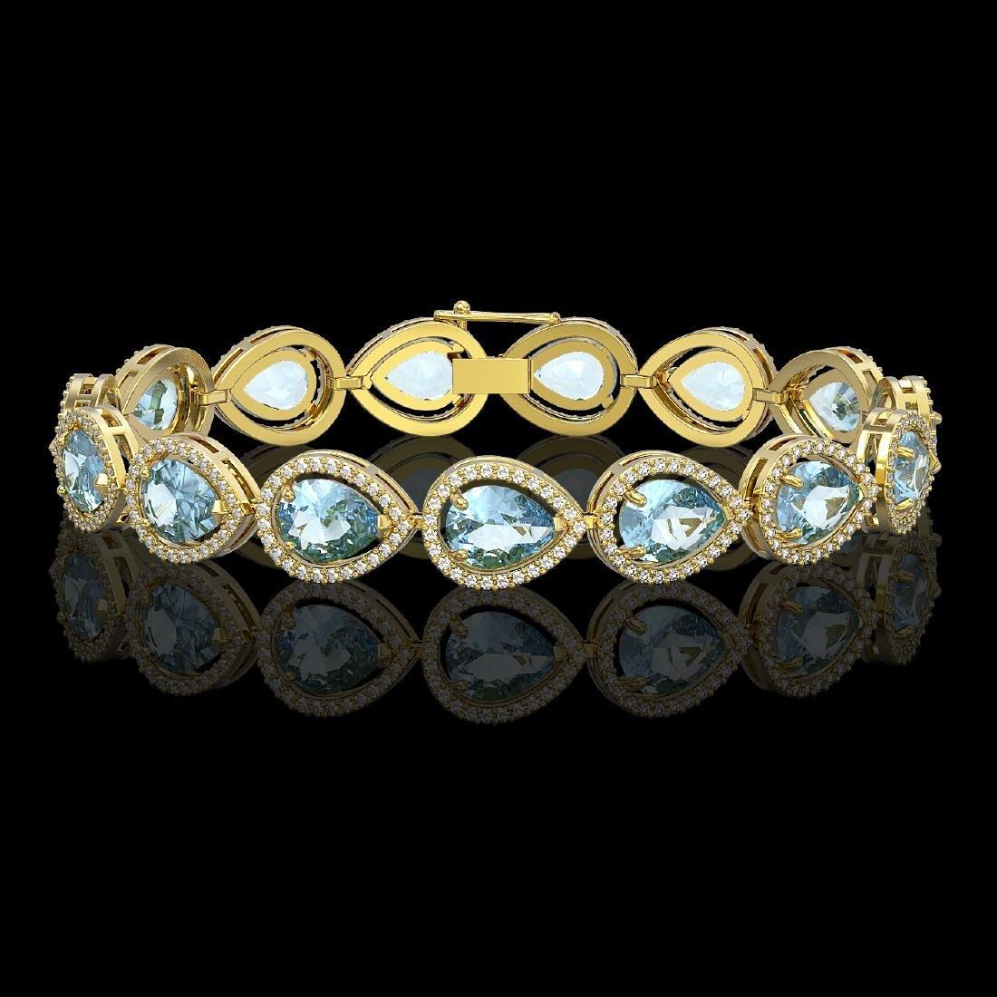 19.85 CTW Aquamarine & Diamond Halo Bracelet 10K Yellow