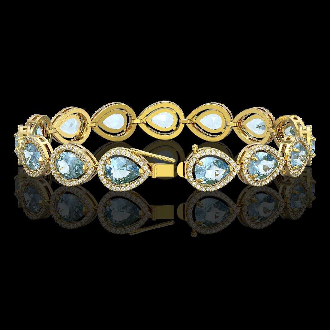 19.85 CTW Aquamarine & Diamond Halo Bracelet 10K Yellow - 2