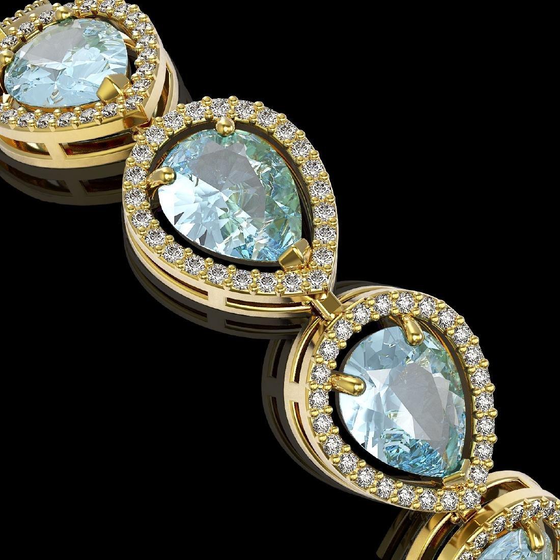 19.85 CTW Aquamarine & Diamond Halo Bracelet 10K Yellow - 3