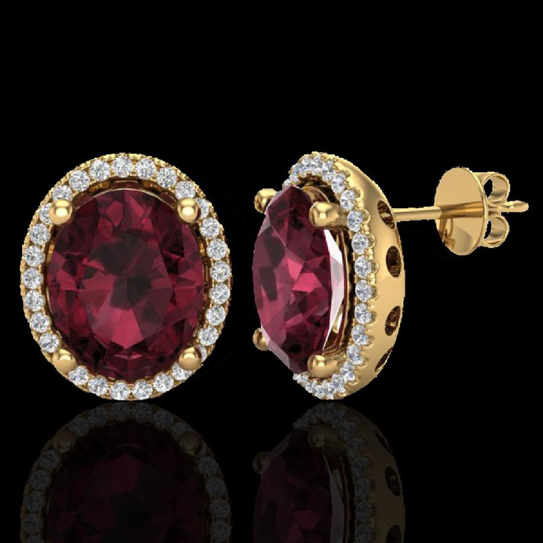 5 CTW Garnet & Micro Pave VS/SI Diamond Earrings Halo - 2