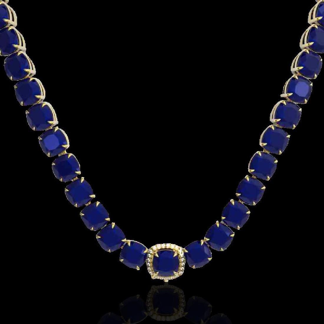 116 CTW Sapphire & VS/SI Diamond Halo Micro Necklace - 2