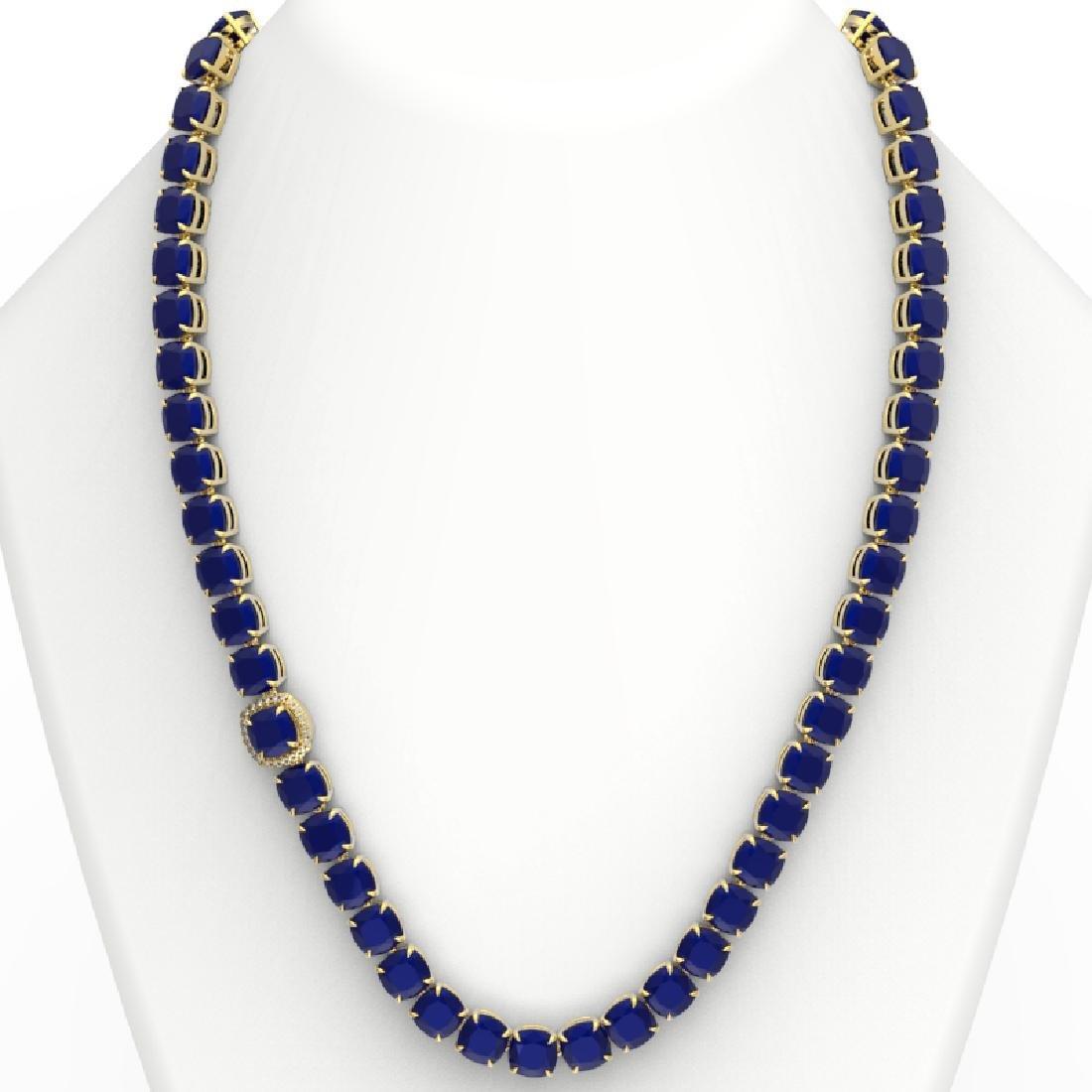 116 CTW Sapphire & VS/SI Diamond Halo Micro Necklace - 3