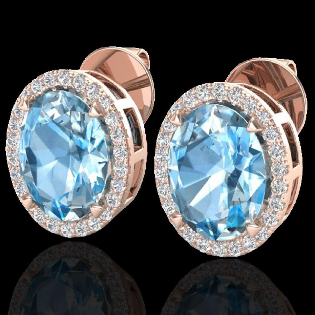 5.50 CTW Sky Blue Topaz & Micro VS/SI Diamond Halo