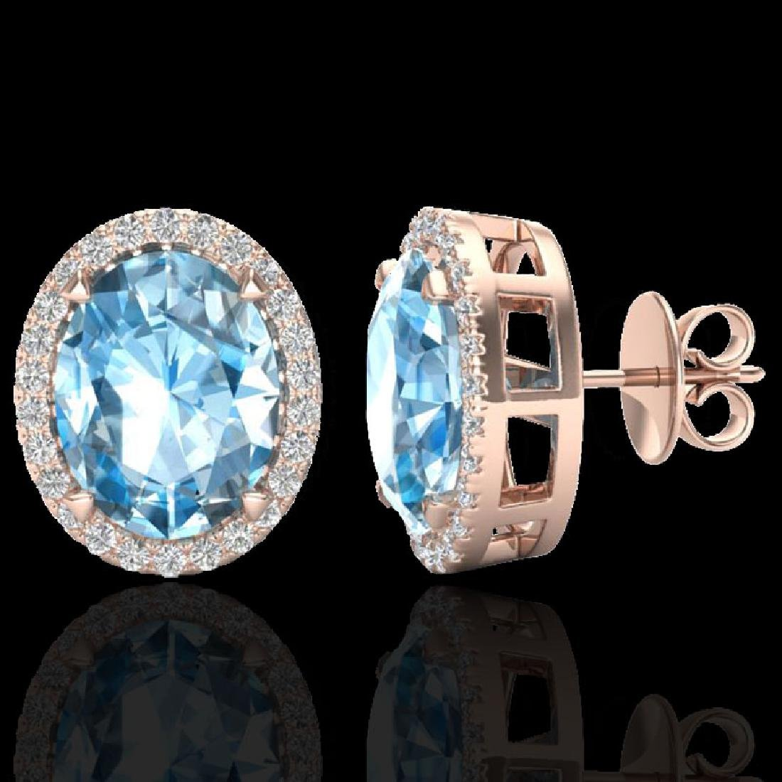 5.50 CTW Sky Blue Topaz & Micro VS/SI Diamond Halo - 2