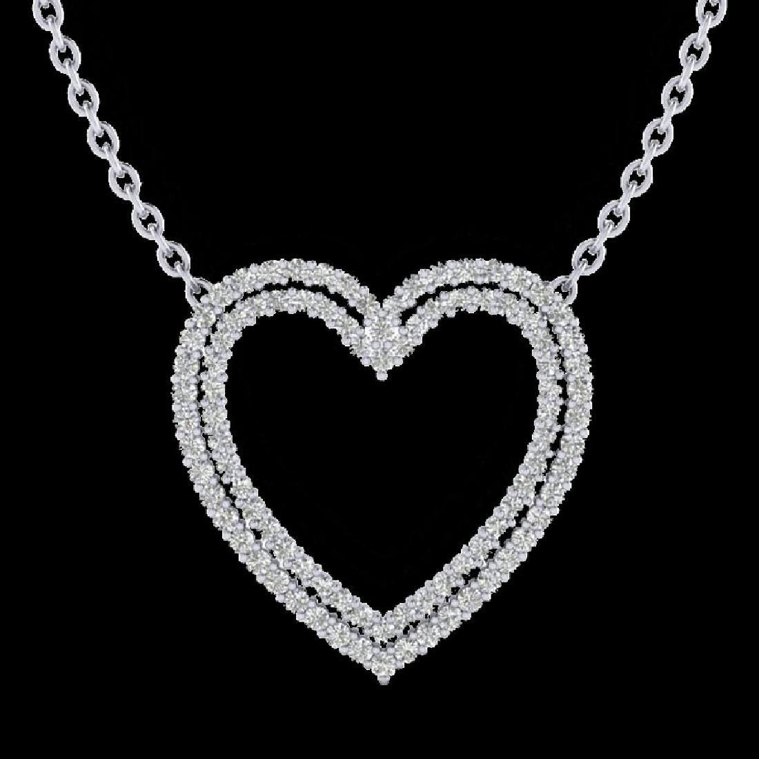 2 CTW VS/SI Diamond Double Heart Halo Designer Necklace