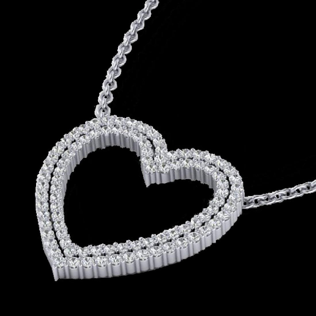 2 CTW VS/SI Diamond Double Heart Halo Designer Necklace - 2