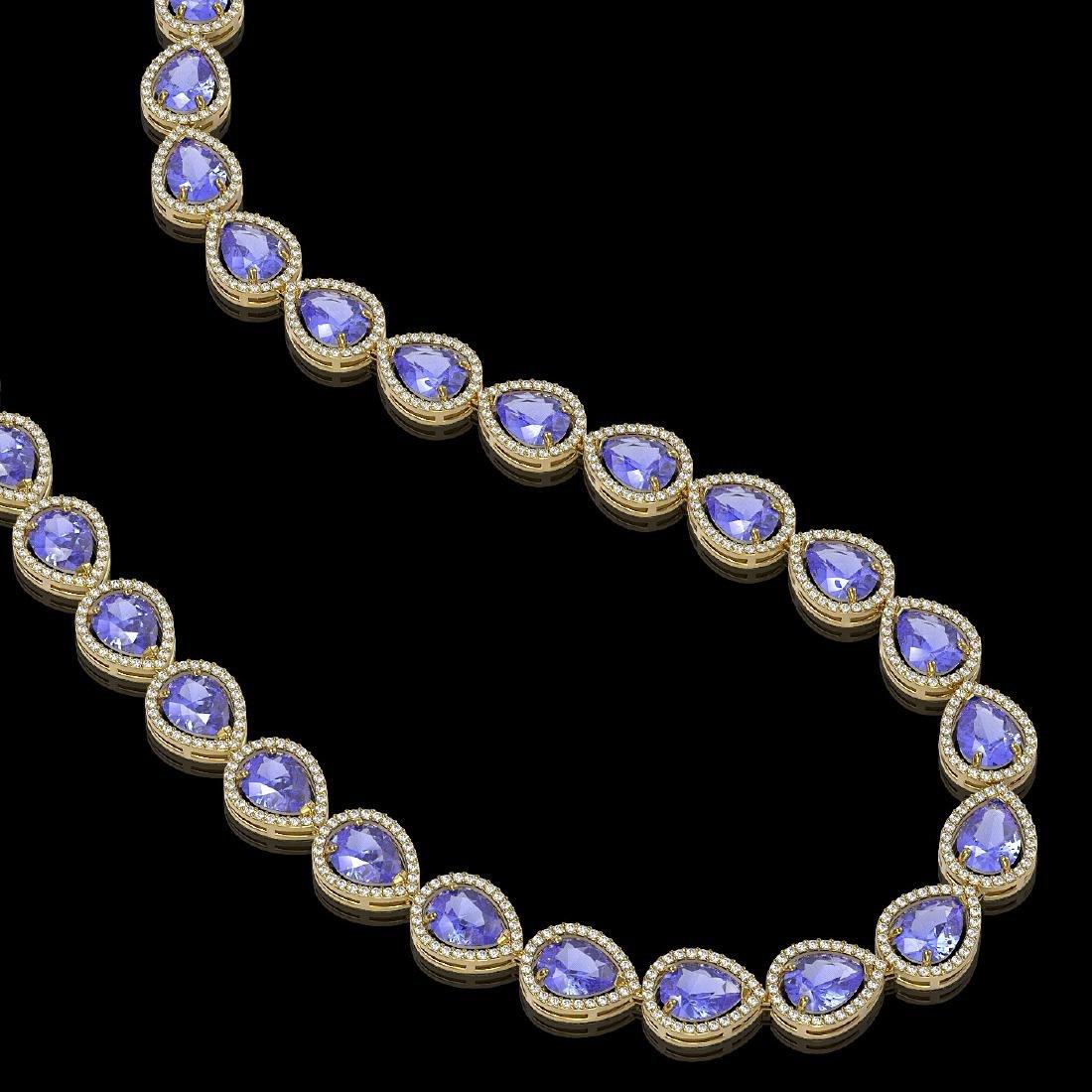 44.8 CTW Tanzanite & Diamond Halo Necklace 10K Yellow - 2
