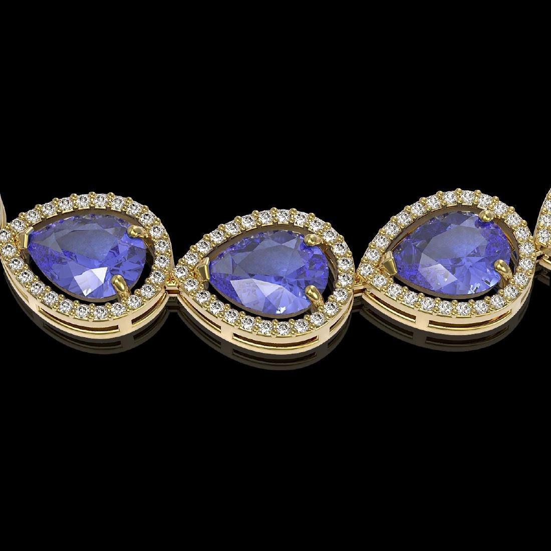 44.8 CTW Tanzanite & Diamond Halo Necklace 10K Yellow - 3