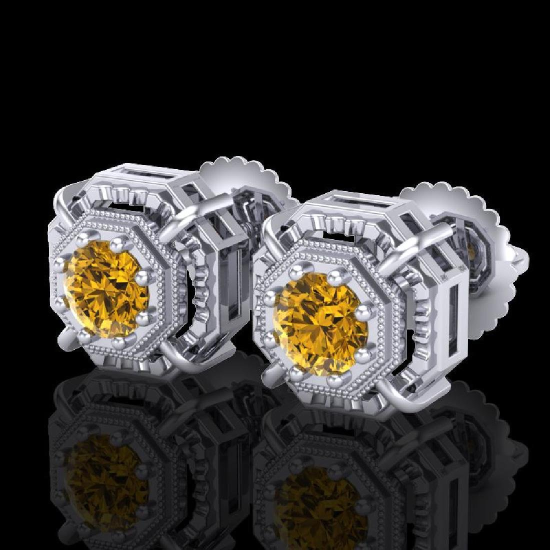 1.11 CTW Intense Fancy Yellow Diamond Art Deco Stud