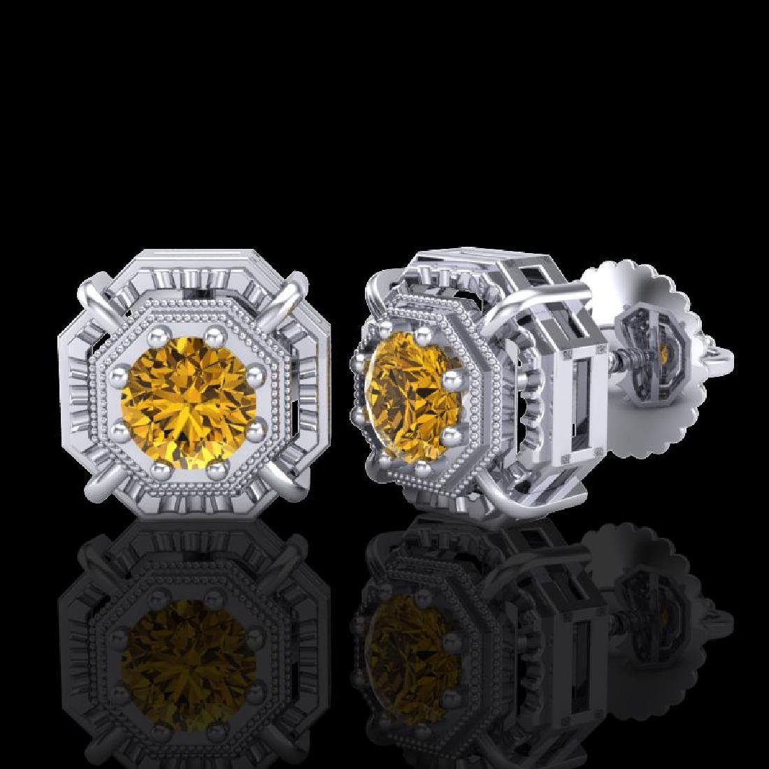 1.11 CTW Intense Fancy Yellow Diamond Art Deco Stud - 2