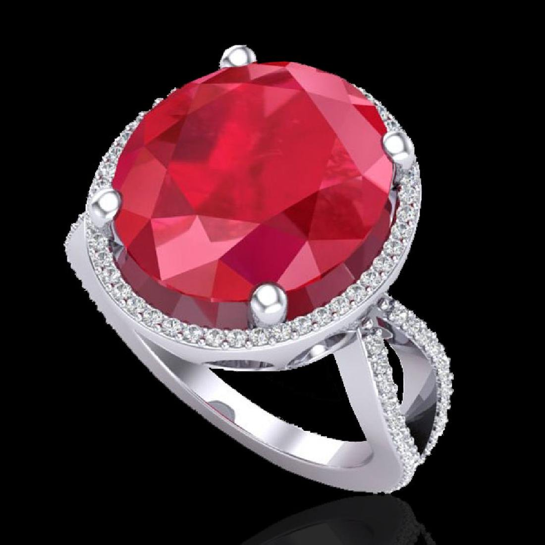 12 CTW Ruby & Micro Pave VS/SI Diamond Halo Ring 18K - 2