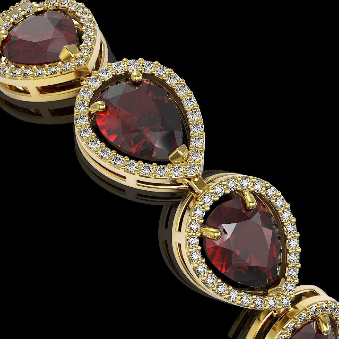 17.45 CTW Garnet & Diamond Halo Bracelet 10K Yellow - 3