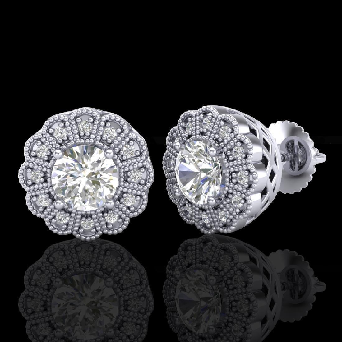 1.32 CTW VS/SI Diamond Solitaire Art Deco Stud Earrings - 2
