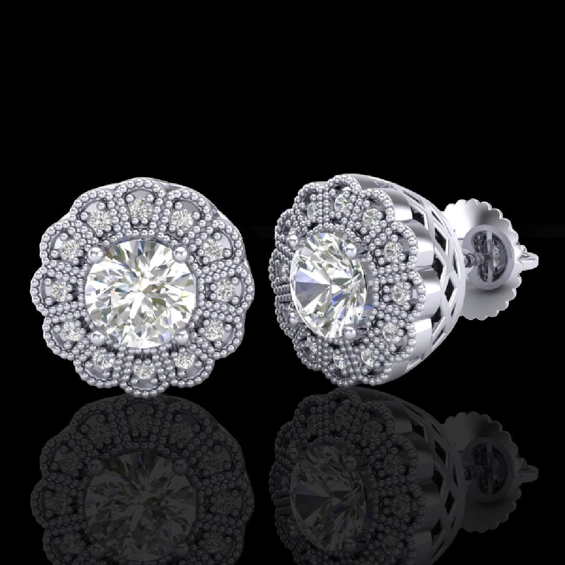 1.32 CTW VS/SI Diamond Solitaire Art Deco Stud Earrings - 2