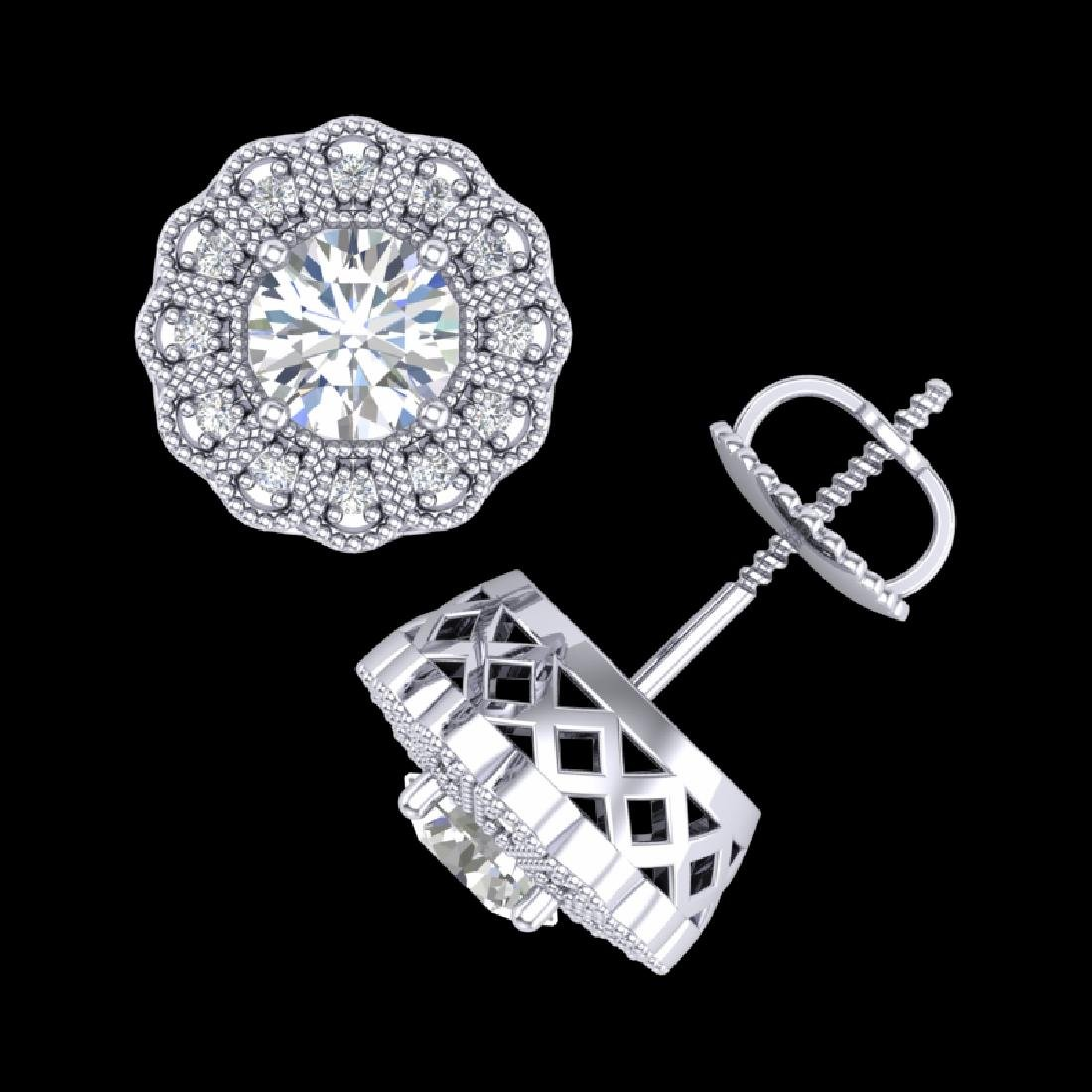1.32 CTW VS/SI Diamond Solitaire Art Deco Stud Earrings - 3