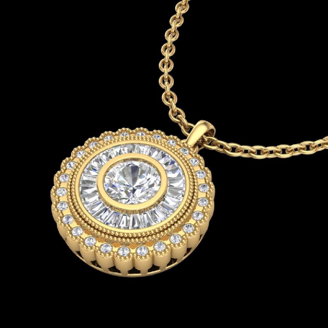 2.11 CTW VS/SI Diamond Solitaire Art Deco Necklace 18K