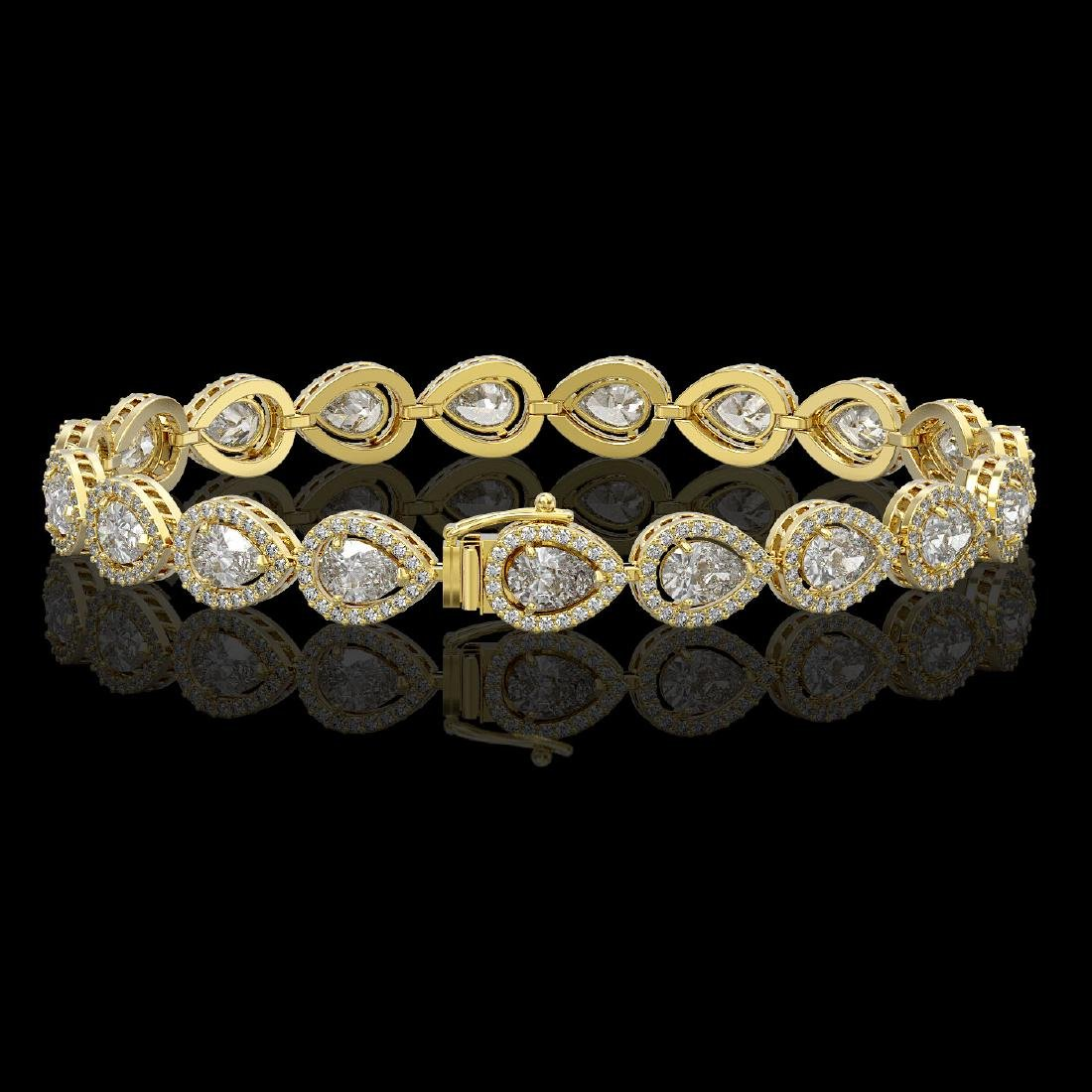 12.38 CTW Pear Diamond Designer Bracelet 18K Yellow - 2