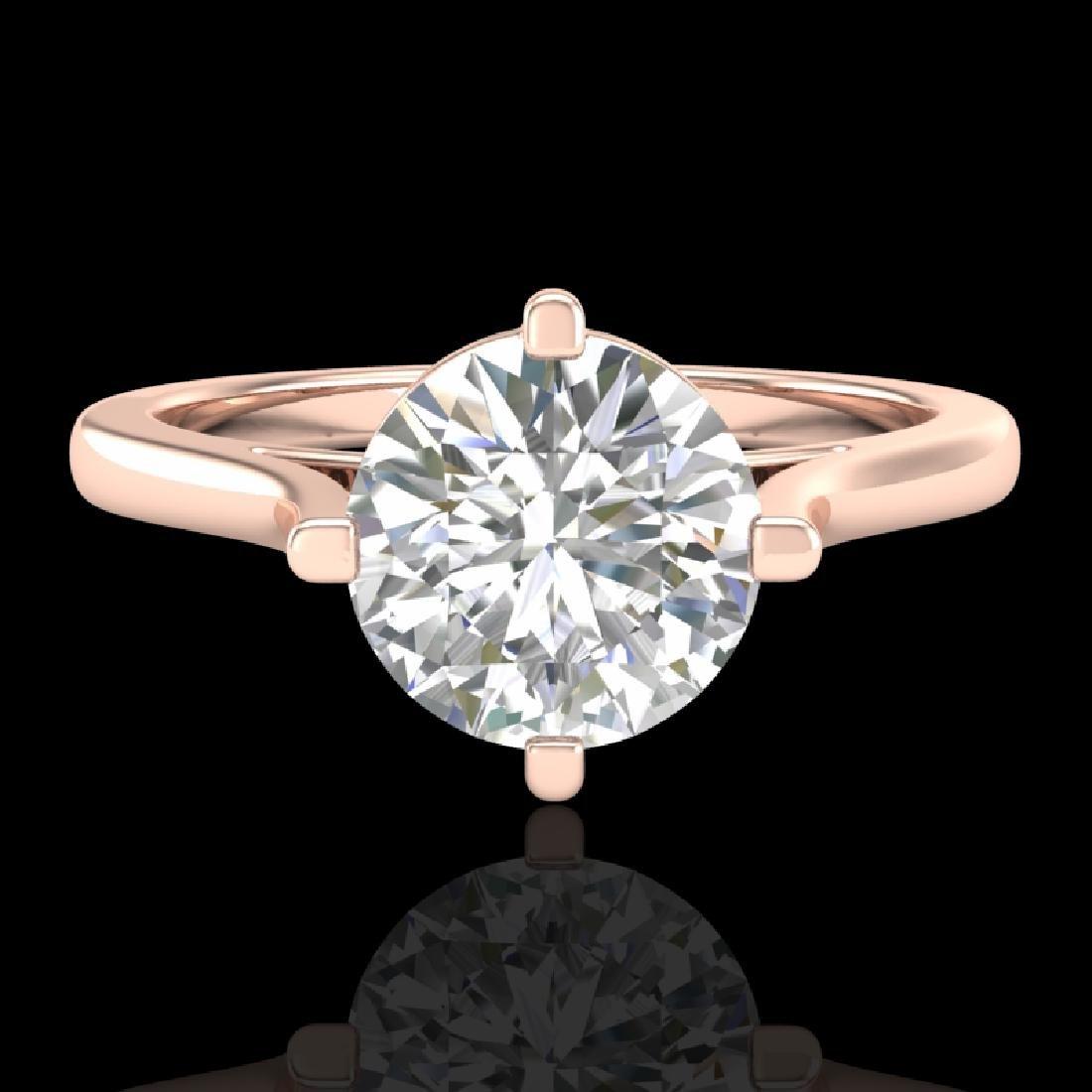 1.25 CTW VS/SI Diamond Solitaire Art Deco Ring 18K Rose - 2