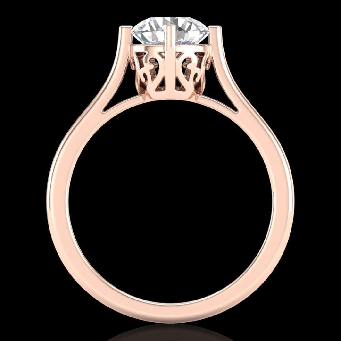 1.25 CTW VS/SI Diamond Solitaire Art Deco Ring 18K Rose - 3