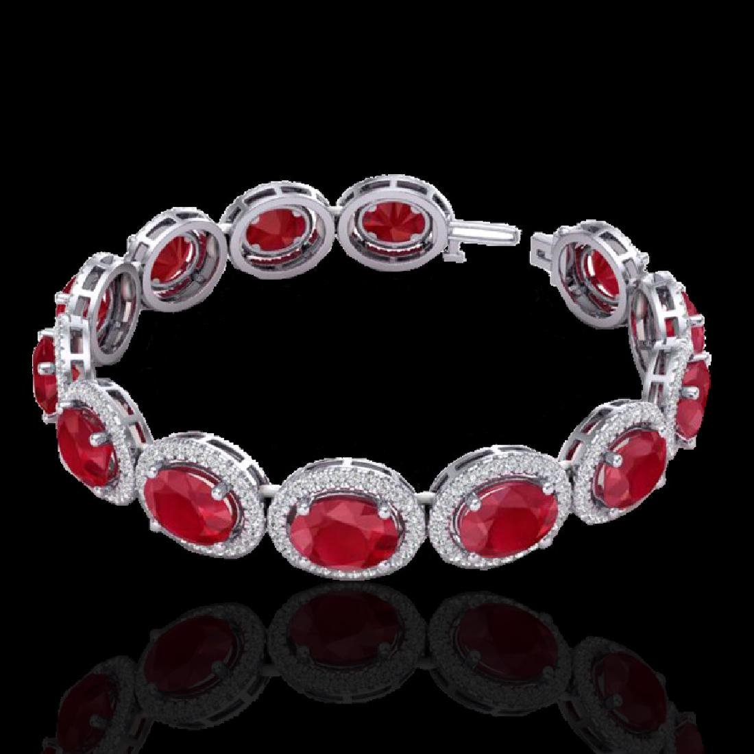 30 CTW Ruby & Micro Pave VS/SI Diamond Bracelet 10K - 2
