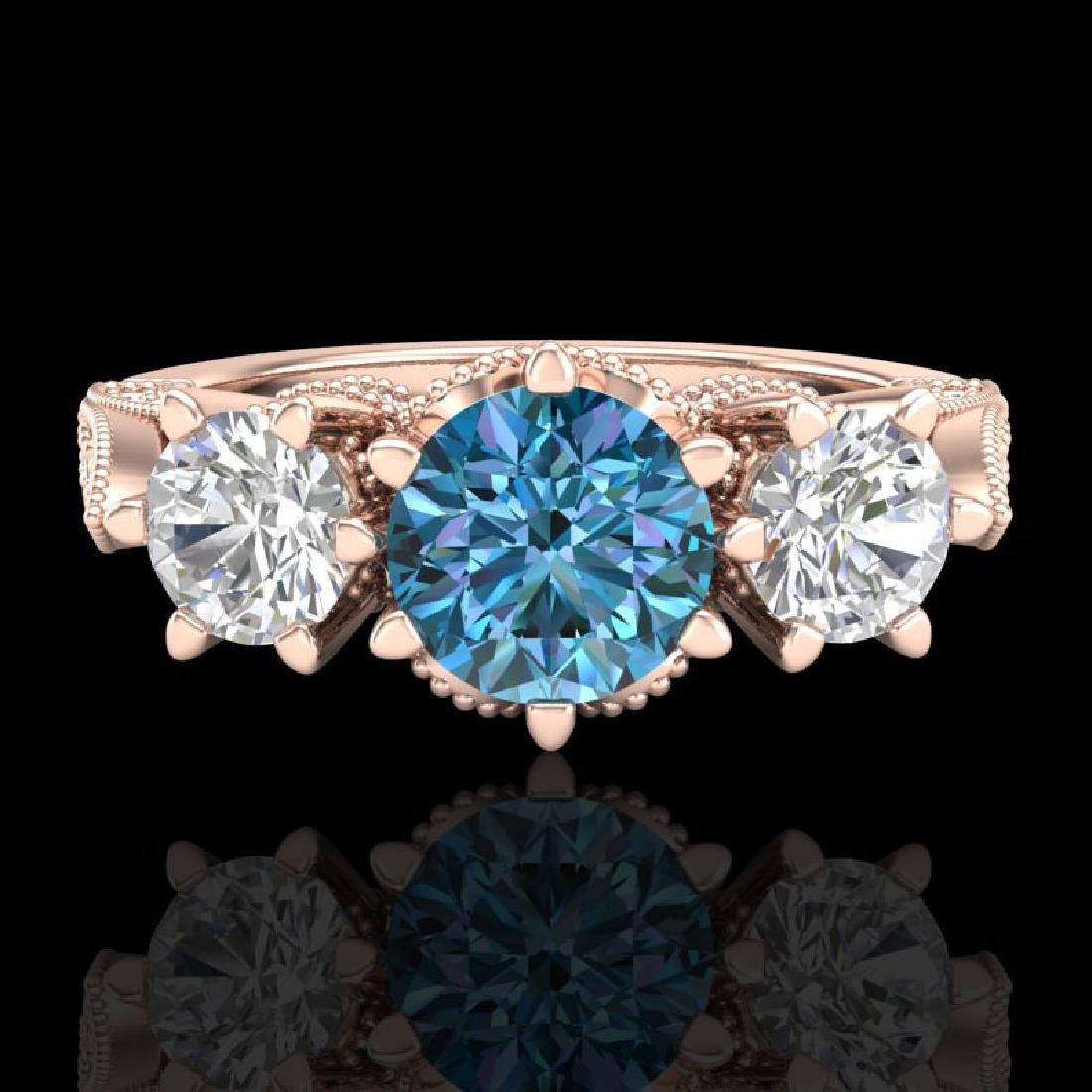 2.18 CTW Intense Blue Diamond Solitaire Art Deco 3 - 2
