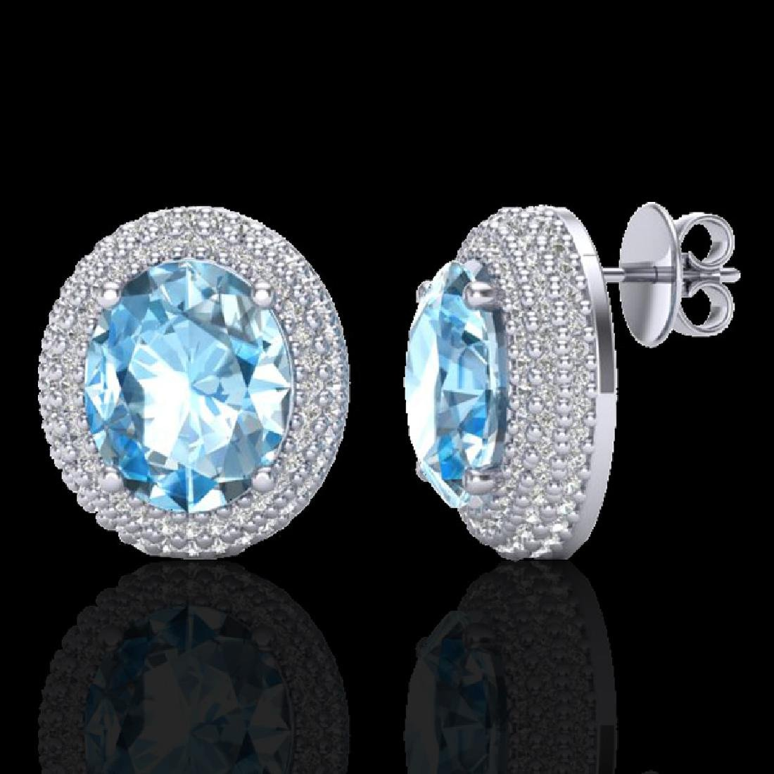 10 CTW Sky Blue Topaz & Micro Pave VS/SI Diamond - 2