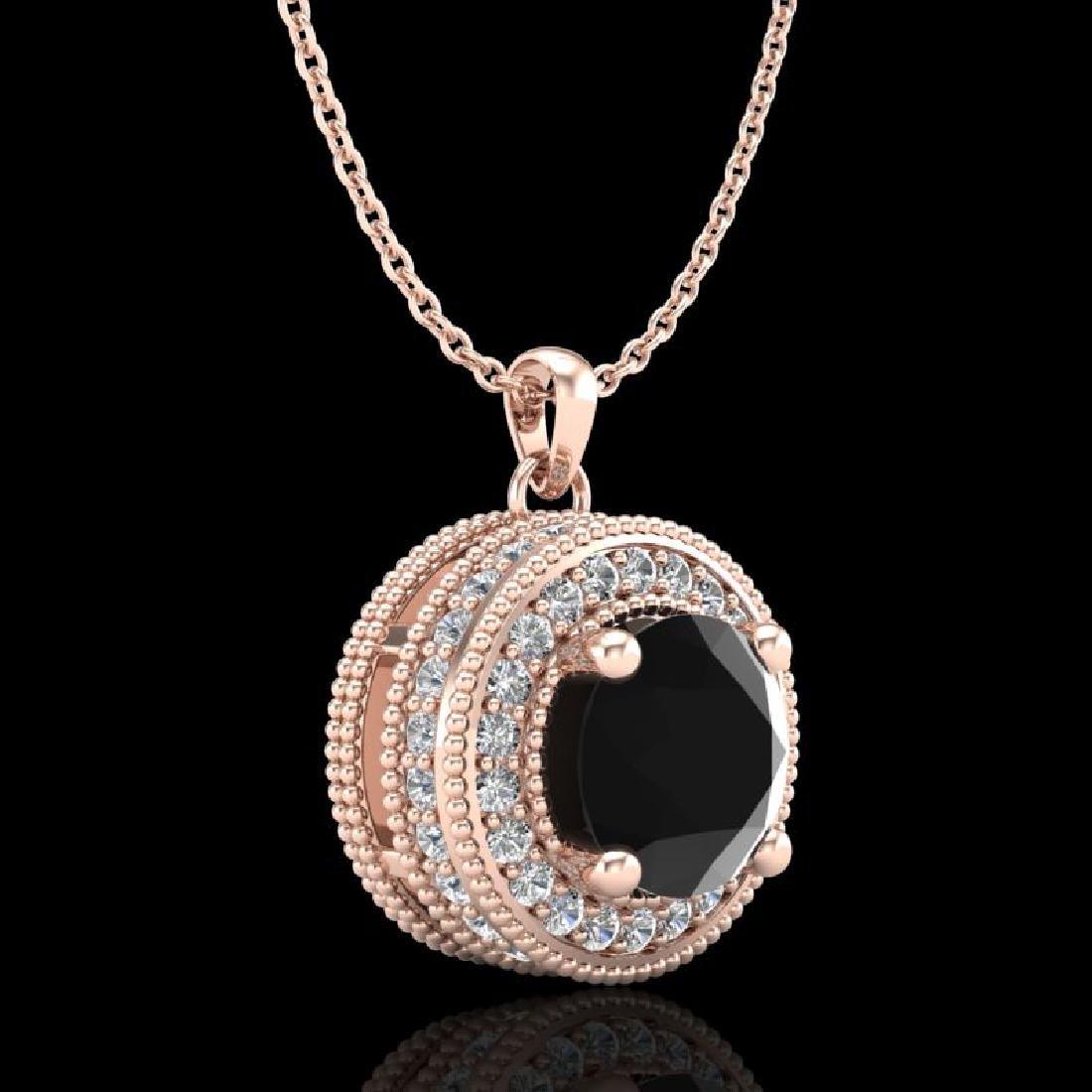 1.25 CTW Fancy Black Diamond Solitaire Art Deco Stud - 2